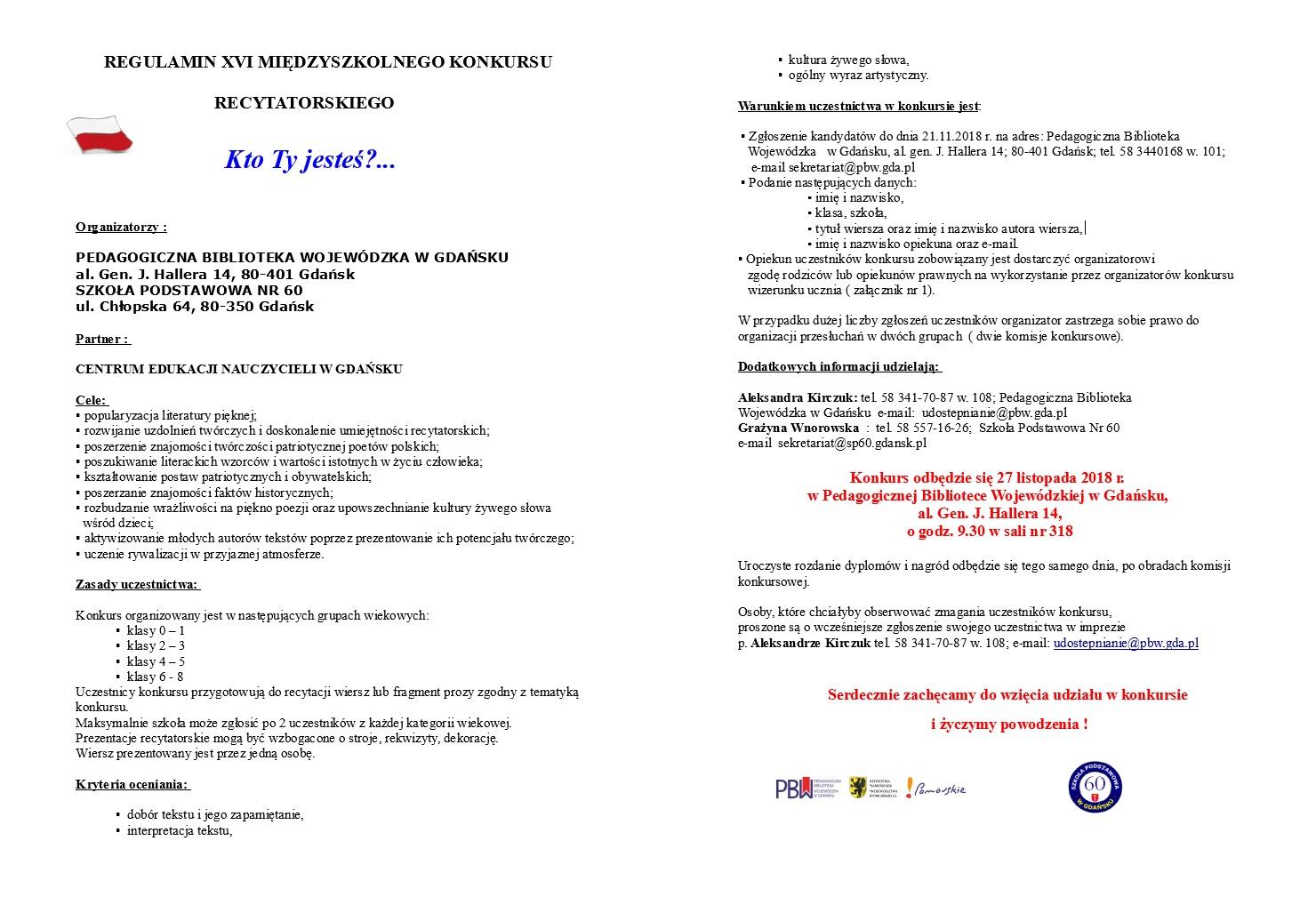 Xvi Międzyszkolny Konkurs Recytatorski Szkoła Podstawowa Nr 60